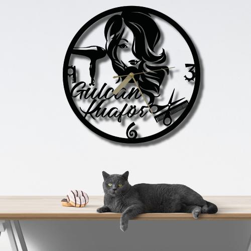 Özel Tasarım Bayan Kuaför Metal Duvar Saati
