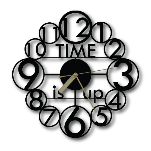 Özel Tasarım Time is Up Dekoratif Metal Duvar Saati