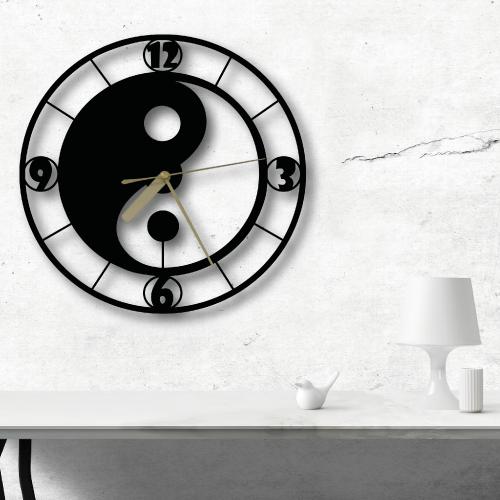 Özel Tasarım Yin-Yang Dekoratif Metal Duvar Saati