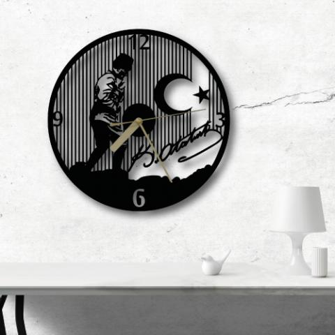 Atatürk Özel Tasarım Metal Duvar Saati