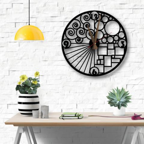 Özel Tasarım Geometric Metal Duvar Saati