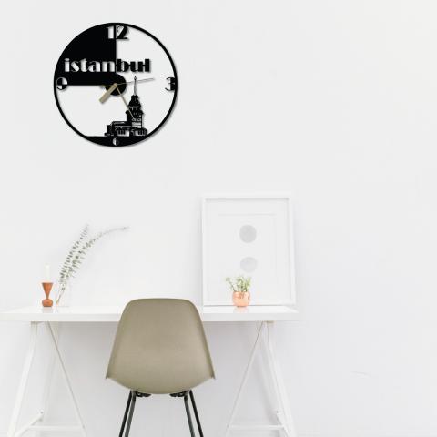 Özel Tasarım Kız Kulesi Dekoratif Metal Duvar Saati