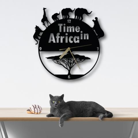 Özel Tasarım Time in Africa Dekoratif Metal Duvar Saati